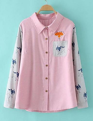 女性 お出かけ / カジュアル/普段着 シャツ,シンプル シャツカラー カラーブロック ピンク ポリエステル 長袖 ミディアム