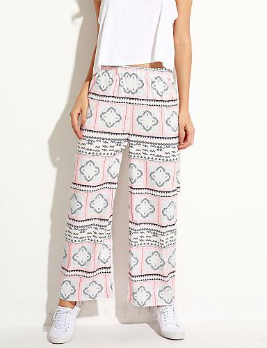 Damer Enkel Mikroelastisk Ret Jeans Bukser Trykt mønster