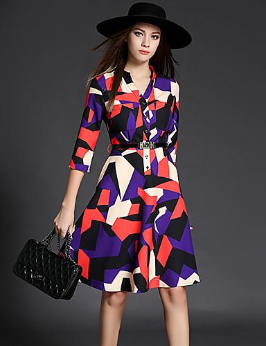 女性用 キュート ストリートファッション Aライン ドレス カラーブロック 膝上 Vネック