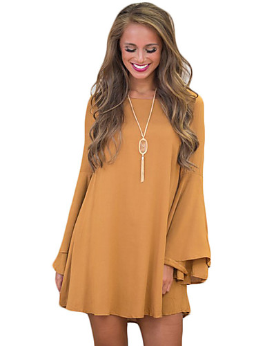 Escote Simple un Vestido Casualdiario Mujer Ancho Color Corte QrCWEedxBo