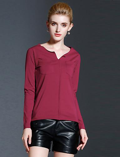 Polyester Rød Medium Langermet,Sweetheart T-skjorte Ensfarget Høst / Vinter Enkel Fritid/hverdag Dame