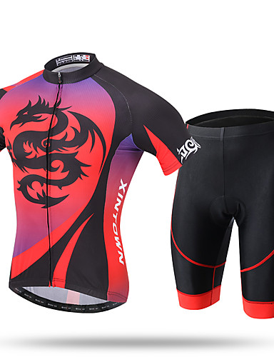 cheap Cycling Clothing-XINTOWN Men's Short Sleeve Cycling Jersey with Shorts - Red Bike Shorts Pants / Trousers Jersey Breathable 3D Pad Quick Dry Ultraviolet Resistant Reflective Strips Sports Spandex Coolmax® Mesh Novelty