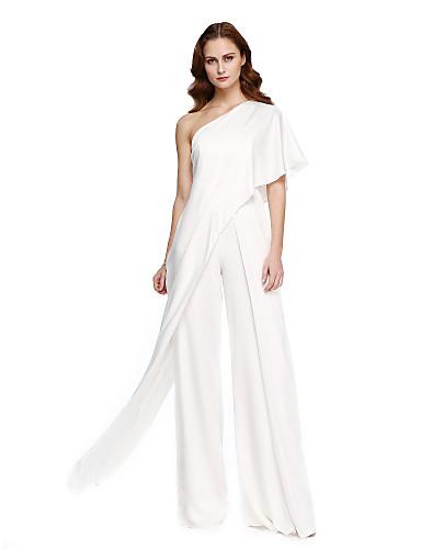 Mono Un Hombro Hasta el Suelo Raso Evento Formal Vestido con Recogido por TS Couture®