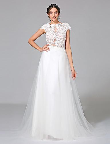 Linha A Bateau Neck Cauda Corte Tule Vestidos de casamento feitos à medida com Apliques / Faixa / Fita de LAN TING BRIDE®