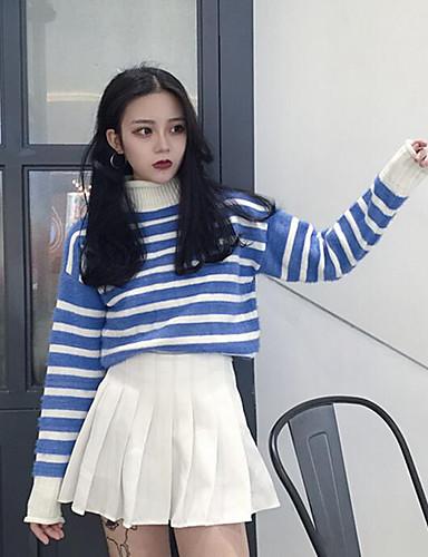 Normal Pullover Fritid/hverdag Enkel Dame,Stripet Blå / Hvit Turtleneck Langermet Akryl Vinter Medium Mikroelastisk