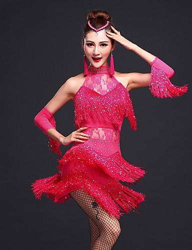 fc67ac8d94ae Balli latino-americani Vestiti Per donna Addestramento Rayon   Elastene  Perline   Di pizzo   Nappa Senza maniche Naturale Abito   Bracciali