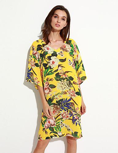 Feminino Solto Vestido,Casual Vintage Floral Decote V Altura dos Joelhos Poliéster Verão Cintura Média