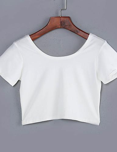 Bomull Solid Kortermet,Rund hals T-skjorte Ensfarget Sommer Sexy Fritid/hverdag Dame