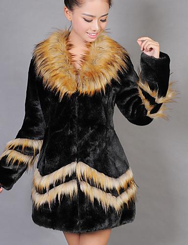 女性 お出かけ カラーブロック ファーコート,セクシー ブラック フェイクファー 長袖