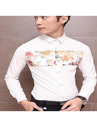 Polyester Flerfarget Langermet,Skjortekrage Skjorte Ensfarget Vår Enkel Fritid/hverdag Herre