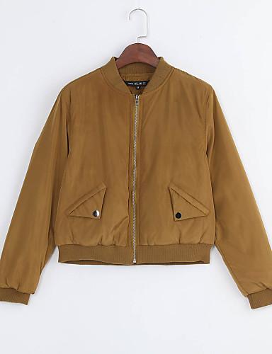 Feminino Jacket Bomber Casual Moda de Rua Outono Inverno Curto Algodão Colarinho Chinês Retalhos