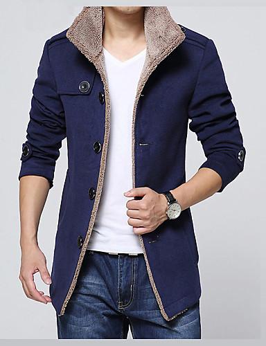 Men's Basic Slim Jacket - Solid Colored Shirt Collar