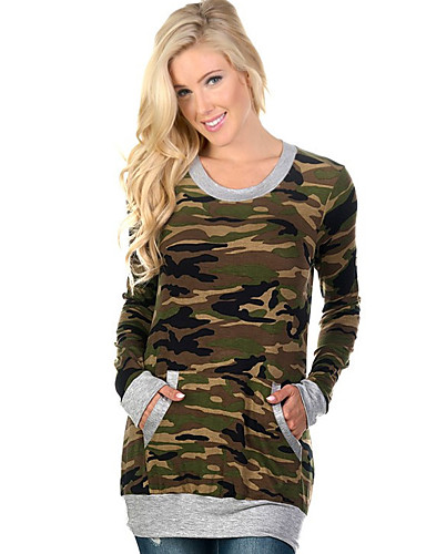 Bomull Sort / Grå Medium Langermet,Rund hals T-skjorte Camouflage Høst / Vinter Vintage Ut på byen Dame