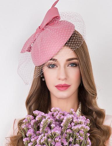 abordables Chapeau & coiffure-Laine / Tulle / Filet Kentucky Derby Hat / Fascinators / Chapeaux avec Fleur 1pc Mariage / Occasion spéciale / Décontracté Casque