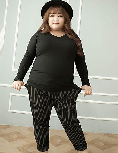 Dame Løstsittende Store størrelser Chinos Bukser-Fritid/hverdag Enkel Stripet Mellomhøyt liv Snorer Polyester / Spandex UelastiskVinter /