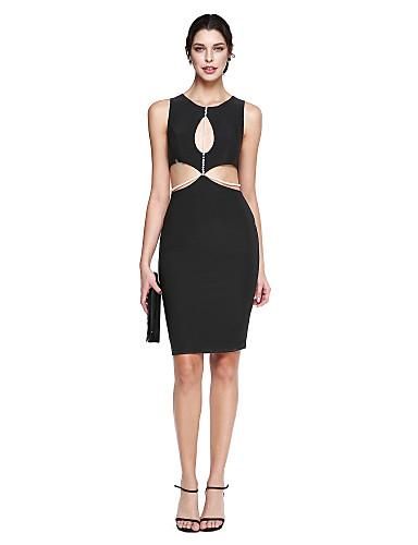 Tube / kolonne Besmykket Knelang Jersey Cocktailfest / Ball / Skoleball Kjole med Perledetaljer av TS Couture® / Liten svart kjole / Kjendisstil