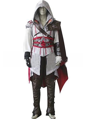 billige Video Game Cosplay-Inspireret af Snigmorder Cosplay video Spil Cosplay Kostumer Cosplay Kostumer Ensfarvet Langærmet Frakke Handsker Bælte Kostumer