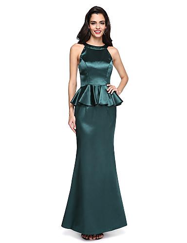 Havfrue Besmykket Gulvlang Elastisk sateng Formell kveld Kjole med Drapert av TS Couture®