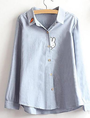 レディース カジュアル/普段着 春 シャツ,シンプル シャツカラー ソリッド コットン 長袖