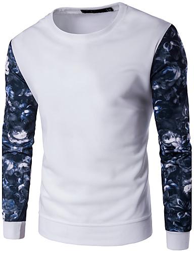 男性用 プラスサイズ スウェットシャツ - カラーブロック, プリント