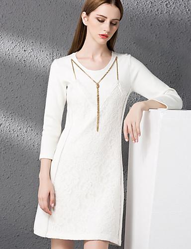 Damen Hülle Kleid-Lässig/Alltäglich Anspruchsvoll Solide Rundhalsausschnitt Übers Knie ¾-Arm Wolle Baumwolle Polyester Herbst WinterHohe