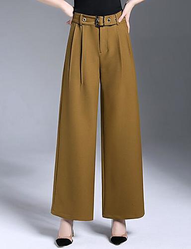 Damen Einfach Mittlere Hüfthöhe Unelastisch Chinos Breites Bein Hose einfarbig