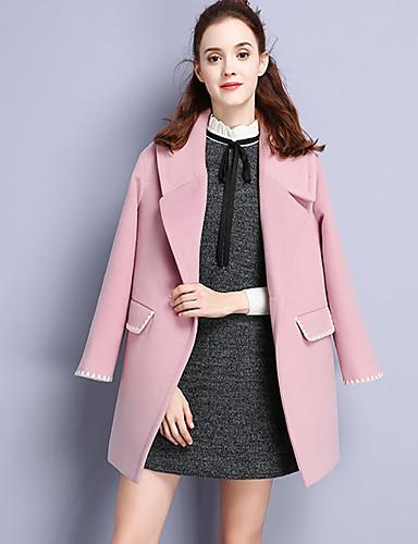 Damen Solide Einfach Lässig/Alltäglich Mantel,Herbst Gekerbtes Revers Langarm Rosa Polyester Nylon Elasthan
