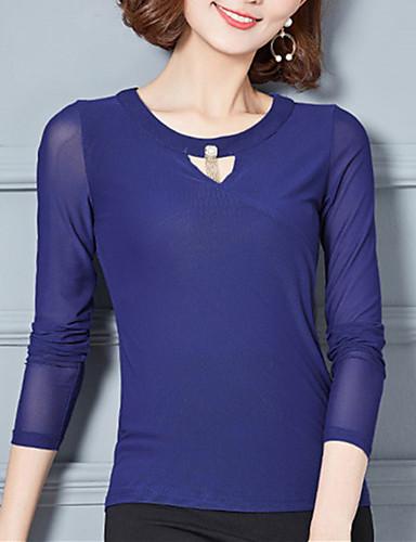 Damen Solide Übergrössen T-shirt Gitter Polyester