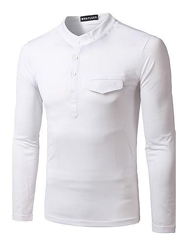 Herren Solide Einfach Lässig/Alltäglich T-shirt,Rundhalsausschnitt Winter Langarm Baumwolle Dick