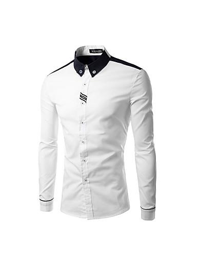 Herren Solide Street Schick Lässig/Alltäglich Hemd,Rundhalsausschnitt Frühling Herbst Langarm Weiß Grau Baumwolle Mittel