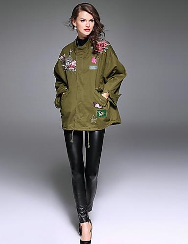 Damen Solide Stickerei Street Schick Punk & Gothic Anspruchsvoll Ausgehen Lässig/Alltäglich Urlaub Jacke,Frühling Herbst Ständer Langarm