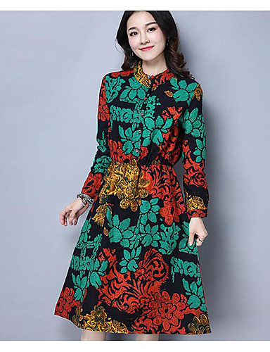 Damen Swing Kleid-Lässig/Alltäglich Chinoiserie Druck Ständer Knielang Leinen Sommer Hohe Hüfthöhe Mikro-elastisch Mittel