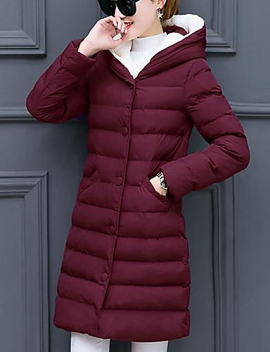 Damen Gefüttert Mantel,Standard Einfach Ausgehen Solide-Polyester Polyester Langarm Rot Schwarz Grau Grün Mit Kapuze