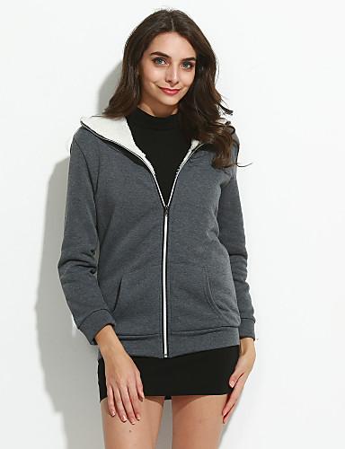 여성 임부복 까마귀 자켓 단순한 캐쥬얼/데일리 솔리드 면 약간의 신축성 긴 소매 가을