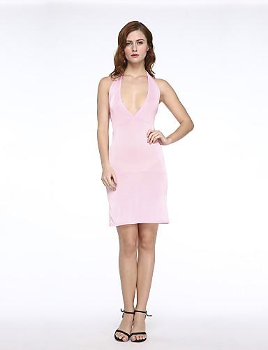 kadın seksi / diz elbise üzerinde BODYCON esnek kolsuz (elastik / mikrofiber)
