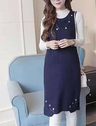 Damen Strickware Kleid-Ausgehen Lässig/Alltäglich Einfach Street Schick Solide Rundhalsausschnitt Knielang Ärmellos Acryl PolyesterHerbst