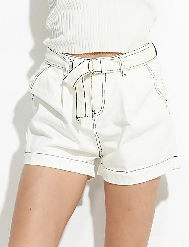 Dame Afslappet Mikroelastisk Jeans Bukser Bomuld Ensfarvet Sommer
