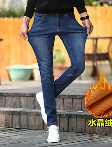 Herren Einfach Mittlere Hüfthöhe Mikro-elastisch Jeans Skinny Hose Solide