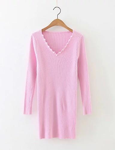 Damen Standard Pullover-Ausgehen Lässig/Alltäglich Einfach Street Schick Solide V-Ausschnitt Langarm Kunstseide Acryl Polyester Herbst