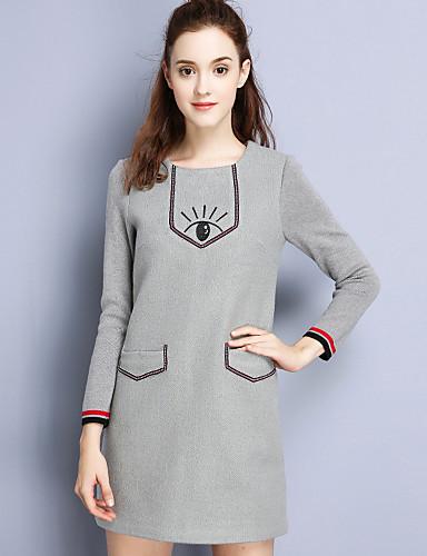 Damen Hülle Kleid-Lässig/Alltäglich Einfach Stickerei Rundhalsausschnitt Übers Knie Langarm Grau Polyester Herbst Mittlere Hüfthöhe