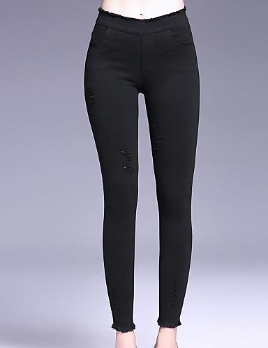 Damen Einfach Mittlere Hüfthöhe Unelastisch Chinos Skinny Hose einfarbig