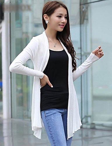 Women's Casual/Plus Sizes Stretchy Medium Long Sleeve Cardigan (Cotton/Knitwear)SF7E03