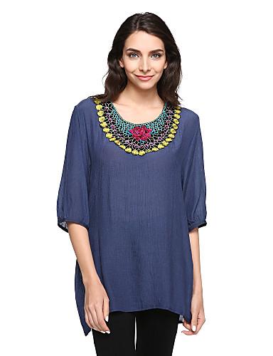 Women's Plus Size Lantern Sleeve Cotton Blouse Print
