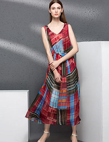 Damen Hülle Kleid-Lässig/Alltäglich Retro Druck V-Ausschnitt Midi Ärmellos Rosa Rot Polyester Herbst Winter Hohe Hüfthöhe Mikro-elastisch