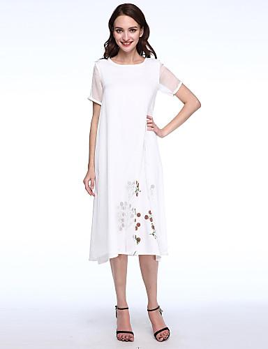 Mulheres Temática Asiática Seda / Algodão / Linho Solto Vestido - Camadas, Estampado Médio / Verão