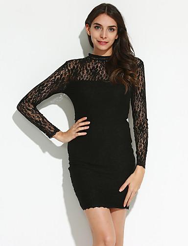 여성의 바디콘 드레스 파티/칵테일 섹시 솔리드,터틀넥 무릎 위 긴 소매 블랙 스판덱스 여름