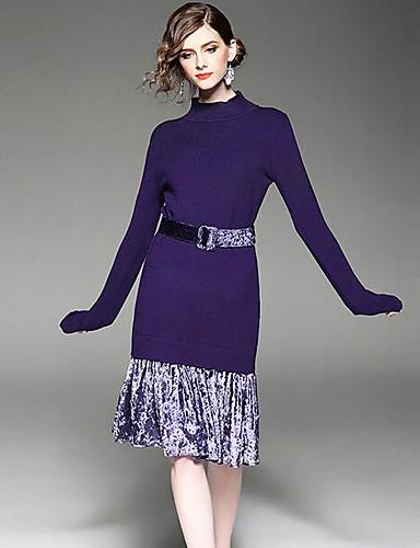 Damen A-Linie Kleid-Lässig/Alltäglich Einfach Solide Rundhalsausschnitt Knielang Langarm Polyester Frühling Mittlere Hüfthöhe