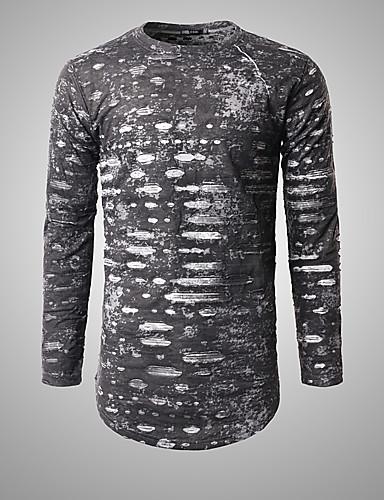 Herren Solide Einfach Lässig/Alltäglich T-shirt,Rundhalsausschnitt Herbst Langarm Baumwolle Mittel