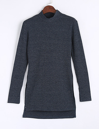 Women's Daily Casual Fall / Winter T-shirtSolid / Letter Turtleneck Long Sleeve Gray Polyester Medium