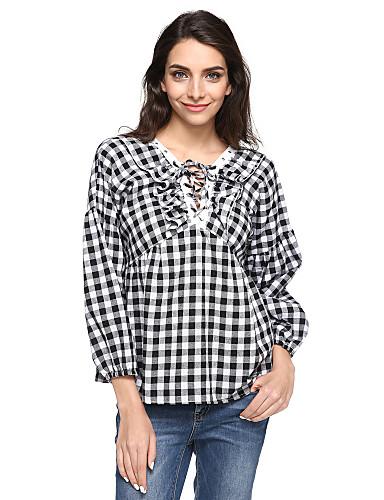 女性用 プラスサイズ シャツ Vネック チェック コットン